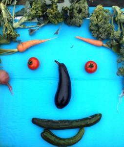 畑でとれた野菜です